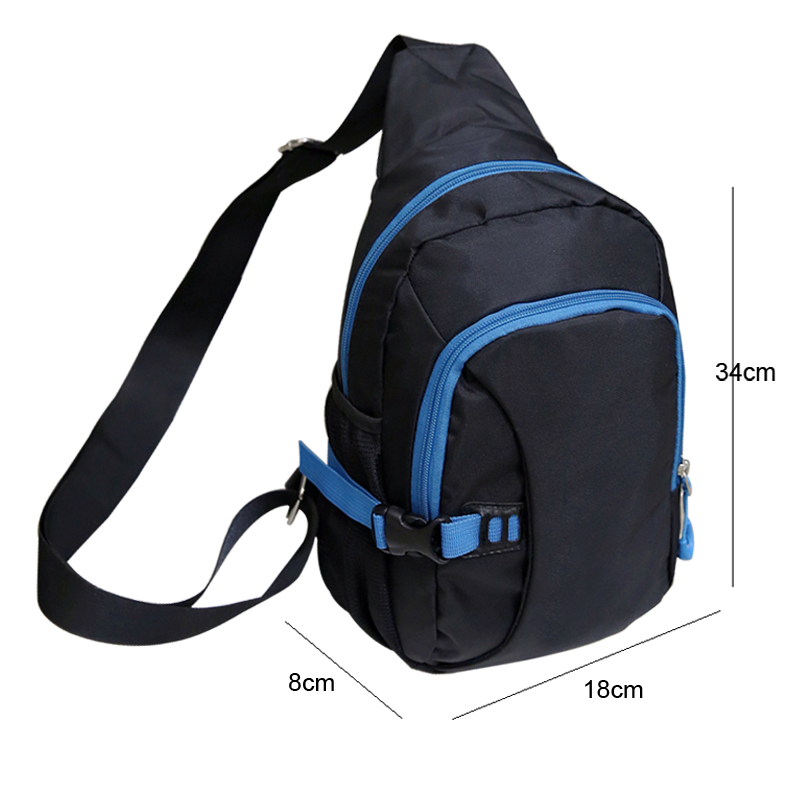 CYSHMILY Outdoor Sports Casual Nylon Unbalance Backpack Crossbody Sling Bag Shoulder Bag Chest Bag