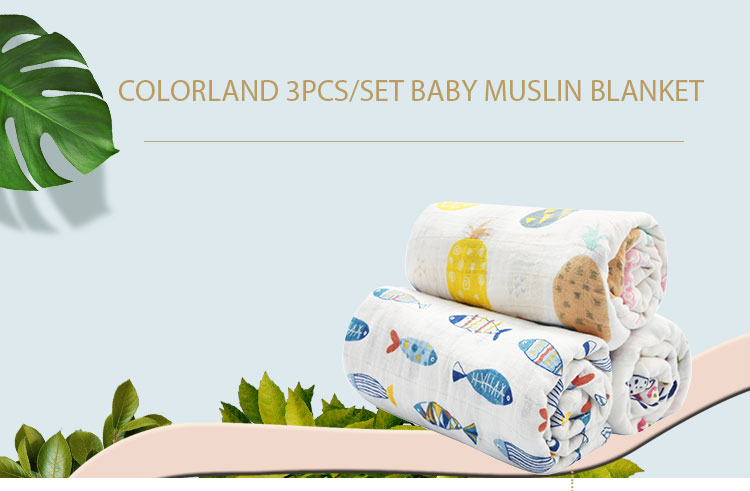 COLORLAND 100% cotton 2 layers baby swaddleblanket wrap muslin babyblanket