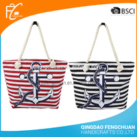 Rope handle tote cotton tote bag Nautical Navy Sailor Striped anchor beach bag