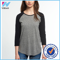 Yihao 2016 New Fashion 100% cotton Womens Casual Crew Neck Baseball Raglan Tee T-Shirt