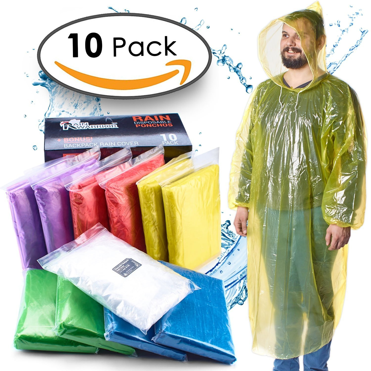 Emergency Waterproof Disposable Rain Ponchos – Assorted Colors 10 Pack - Lightweight Universal Design For Adults, Men & Women - Poncho Includes Hoods With Drawstrings - Bonus Backpack Rain Cover
