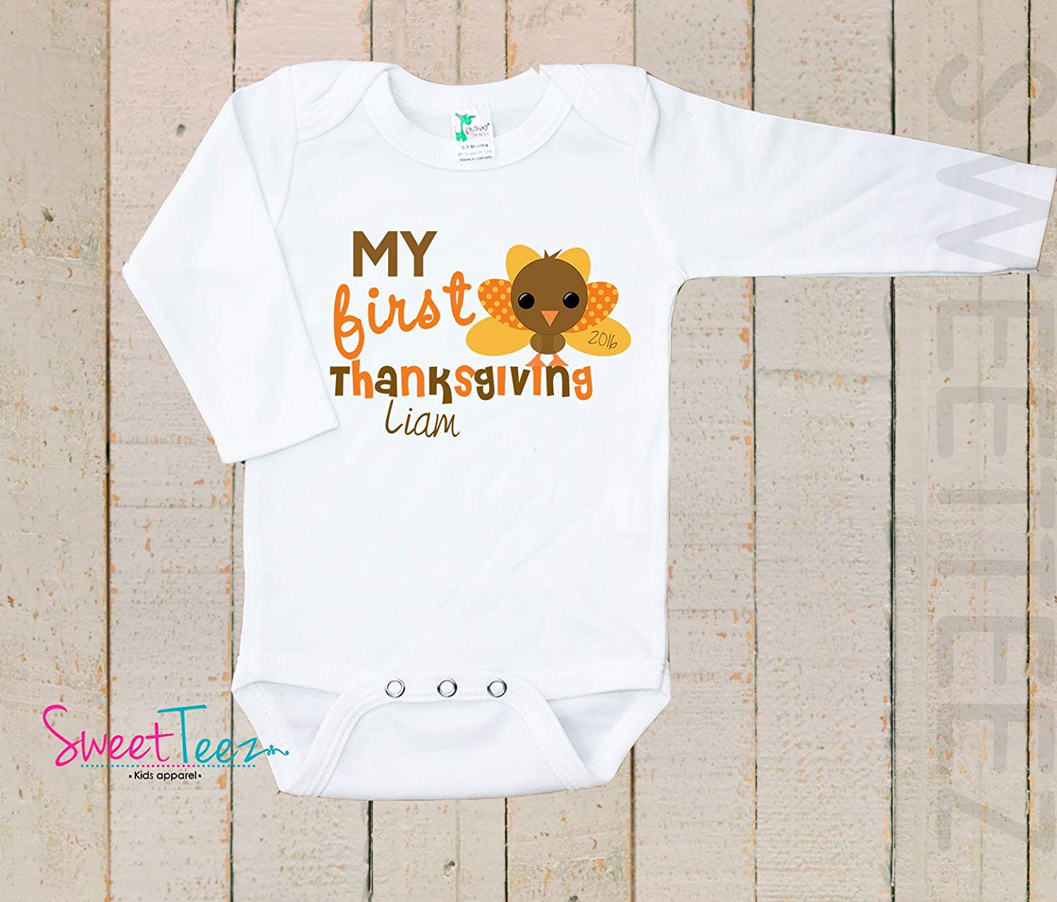 2f94269cd1d3 Get Quotations · My first Thanksgiving Baby Bodysuit Baby Girl Boy  Personalized with Name and Year Turkey