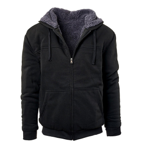 New arrival mens sherpa fleece hoodies solid color full zip heavy thermal winter hoodie