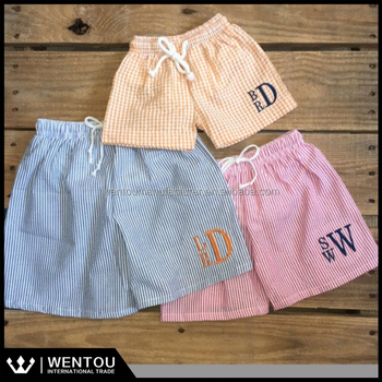 Cheap Monogram Blank Cute Boy's Seersucker Swimming Trunks Wholesale