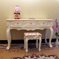 Mdf Old Style White 3 Drawer Console Table For Dressing