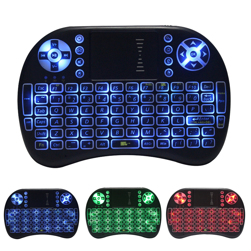 3 Colors backlight i8 wireless air fly mouse mini keyboard backlit with touchpad