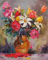 Actual Image show handmade knife flower oil painting on canvas