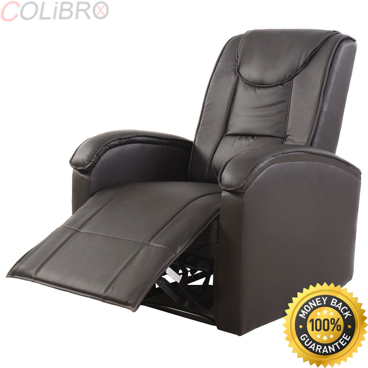 Get quotations · colibrox ergonomic sofa chair recliner lounge deluxe pu leather home furniture brown new