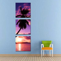 LK390 3 Panel Seascape Palm Tree On The Beach Oil Painting Wall Art Modern Pictures Print On Canvas Paintings Sale For Home Ba