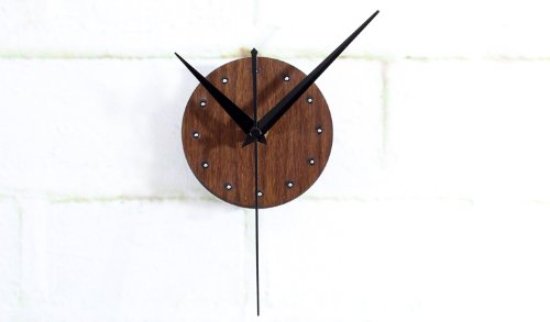 Reliable_E Wood Like Clock Face Power Movement DIY Wall Clock Kit for Home Decor (Brown-Rivet)