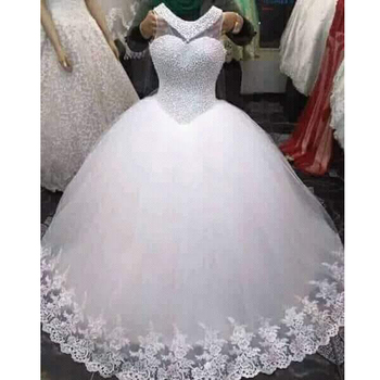 Real 100 Actual Full Pearls Beaded Puffy Plus Size Floor Length White Ivory Cheap Wedding Dresses Mwa348 Buy Cheap Wedding Dress Bridal Gown White Wedding Dress Plus Size Corset Wedding Gowns Product On