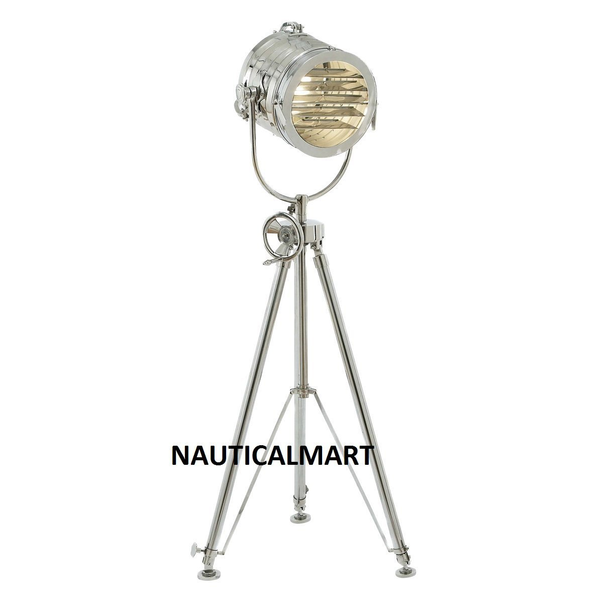 "Aluminum Sea Light Adjustable Tripod Floor Lamp, 78"", Silver"
