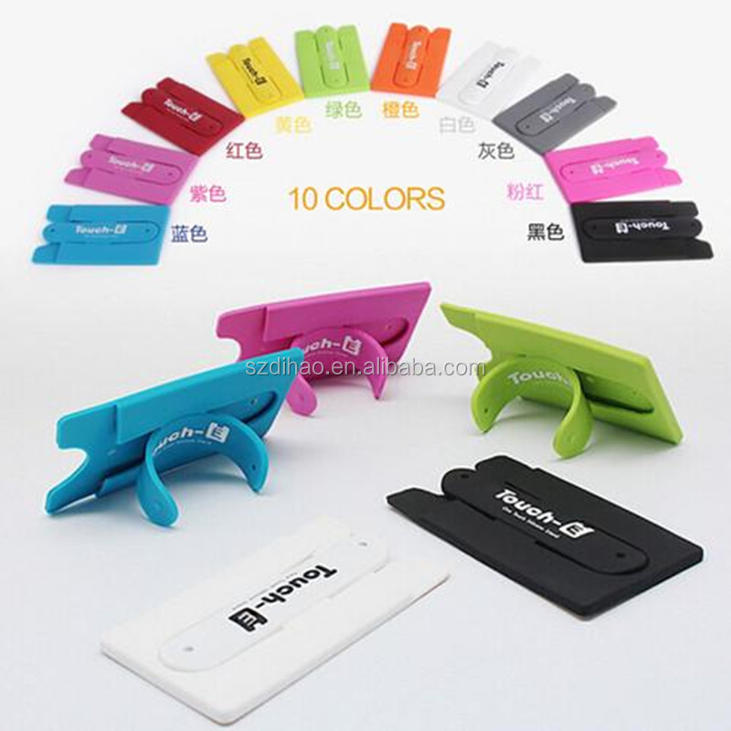 DIHAO mobile phone stand 3M sticker silicone card holder adhesive ,Silicone Cell Phone Stand With Card Holder