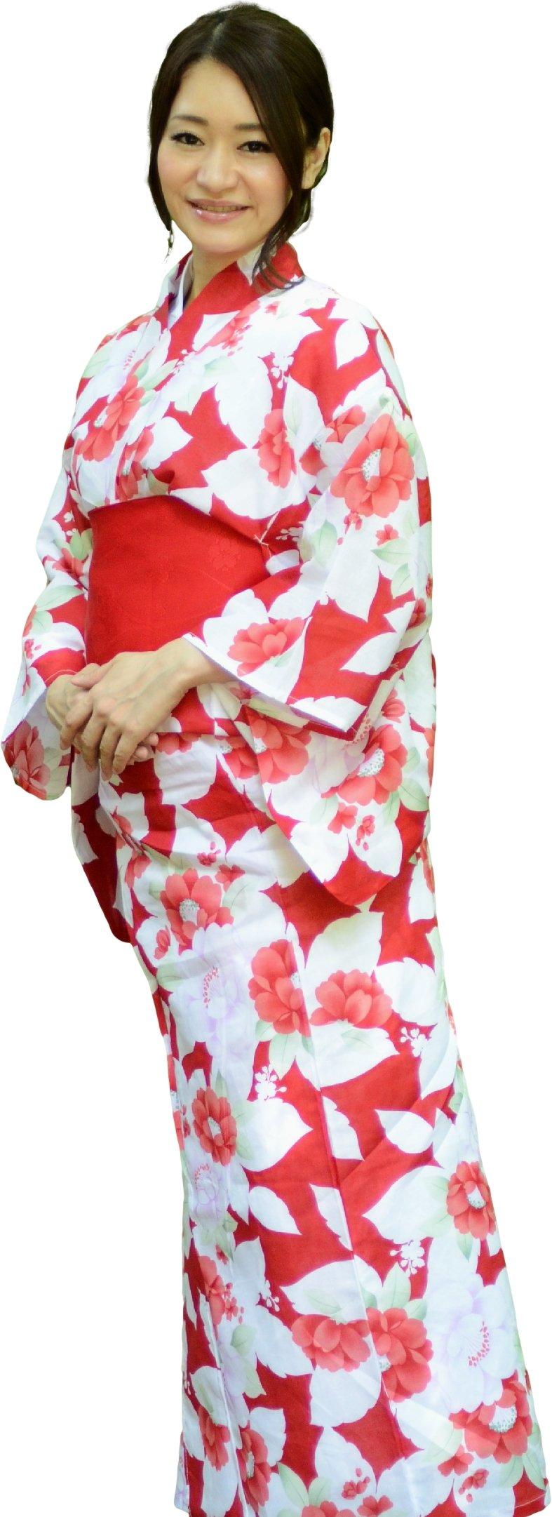 a077d5771 Get Quotations · sakura Women Japanese Yukata obi belt set/ Red flower  pattern
