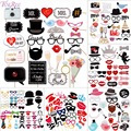 FENGRISE Fun 58 pcs Photo Booth Happy Birthday Prop DIY Mr Mrs Glasses Mask Party Accessories