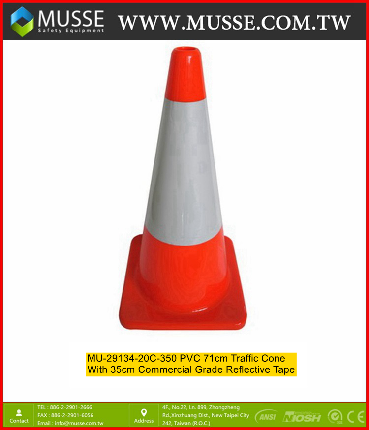 MU-29134-20C-085 PVC 71cm Road Cone with Reflective Tape