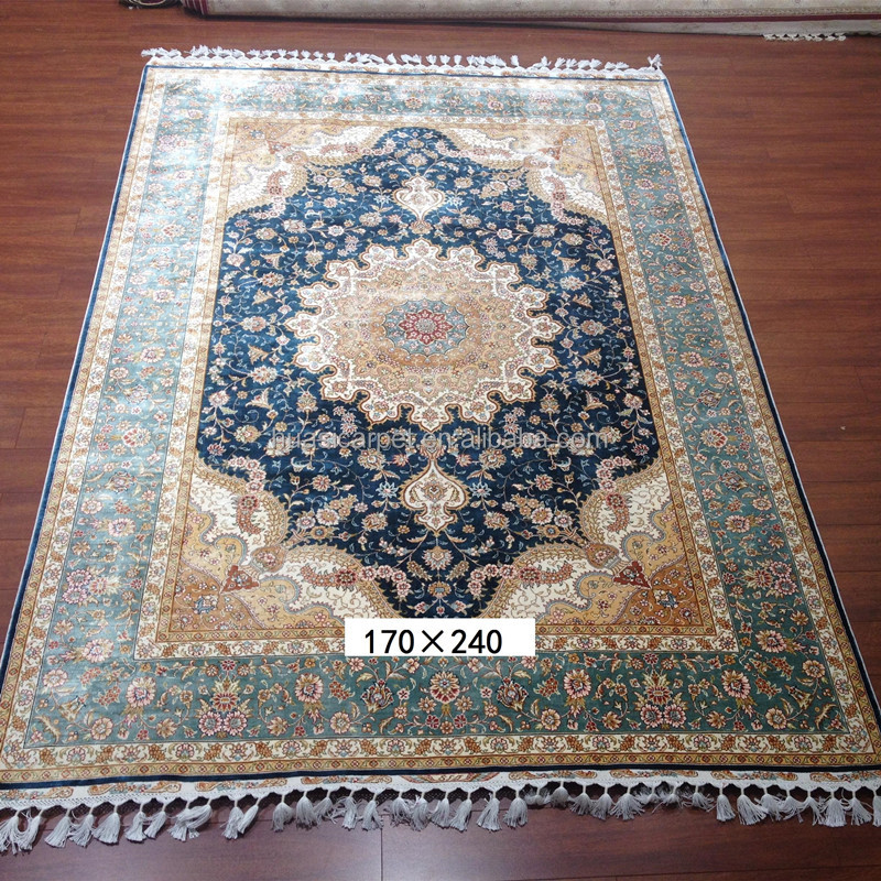 blue field hand knotted natural silk kashmir carpet and rugs for living room