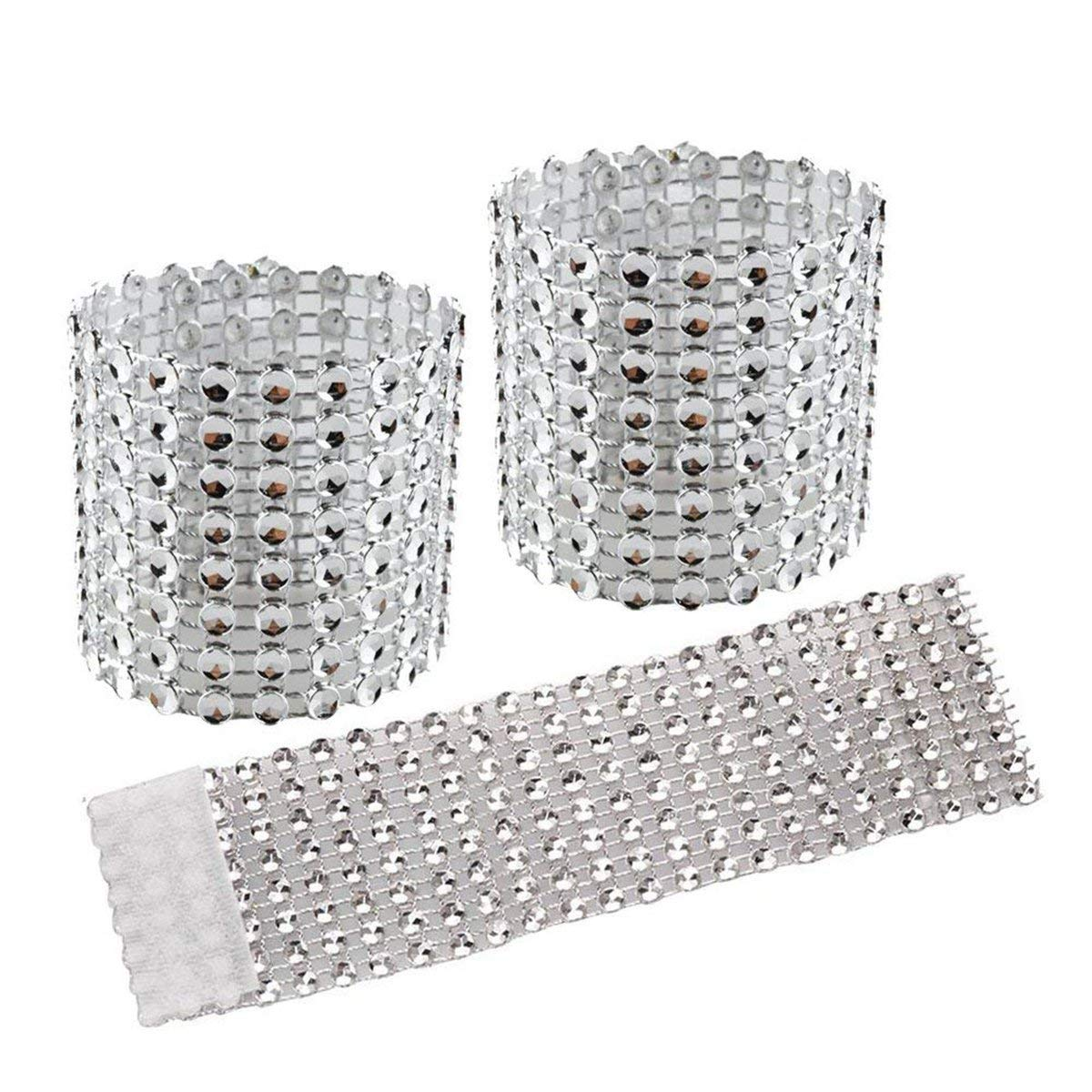 50 Piece Silver Elina Home Plastic Rhinestone Napkin Rings Cum Holder for Chairs Sash Bows Banquet Wedding Birthday Party Decor