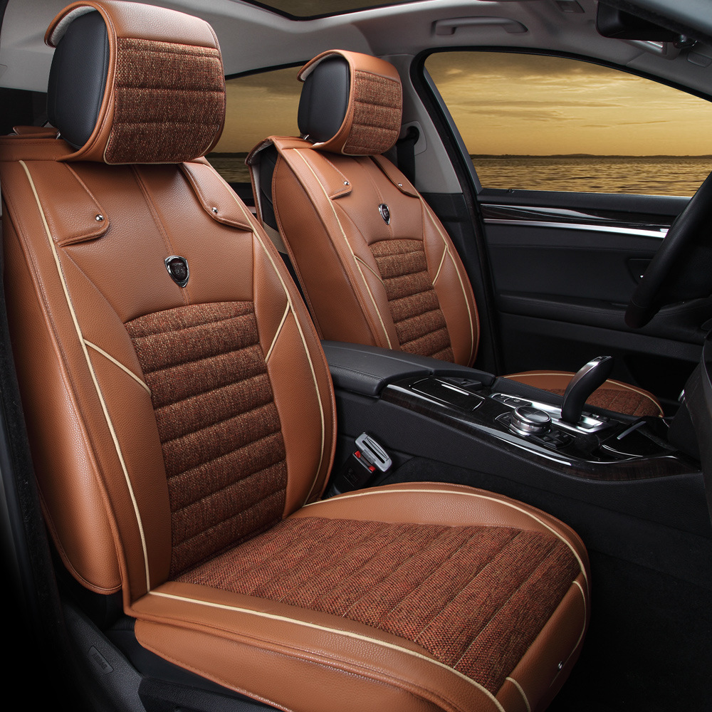 Free shipping 100 leather fiberflax four colors black - Car seat covers for tan interior ...