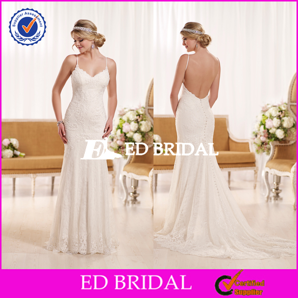 Custom Made High Quality Best Price Spaghetti Straps Ladies Sex Gown Wedding Dress Bridal Gown