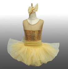 2017 New !! MBQ98 Child l gold sequin leotard lycra ballet dance stage competition party tutu dress costumes