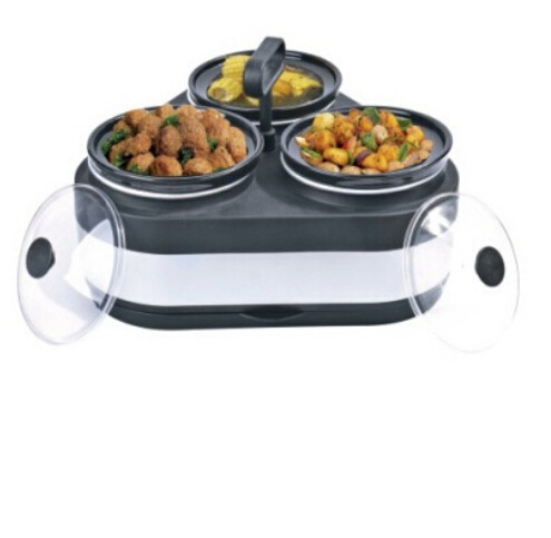 3 in 1pot round buffet warmer and hot box food warmer container which can keep the food warm for home use