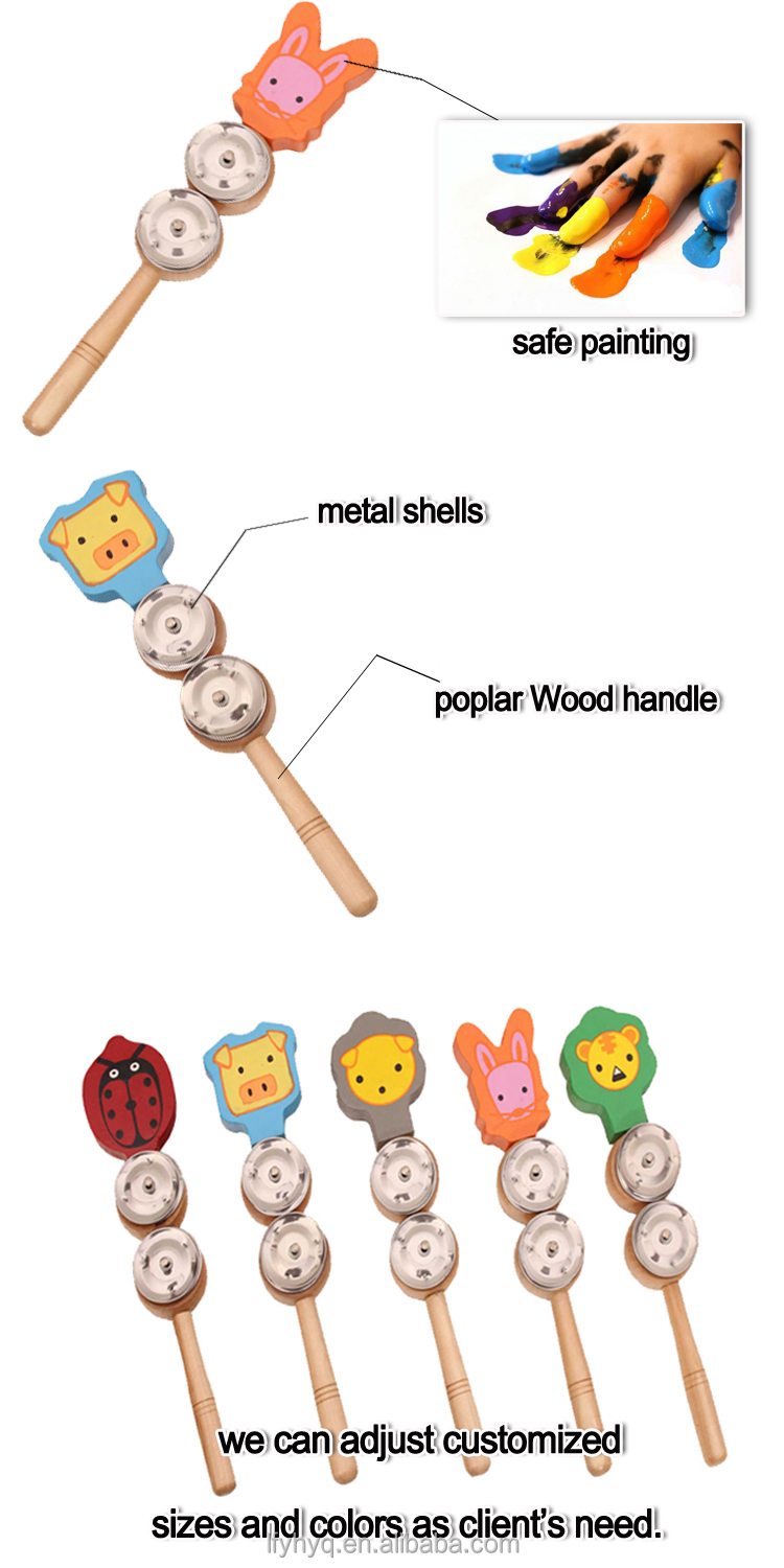 Baby musical Natural WoodenJingle Stick toy, cute stick toy music instrument for kid