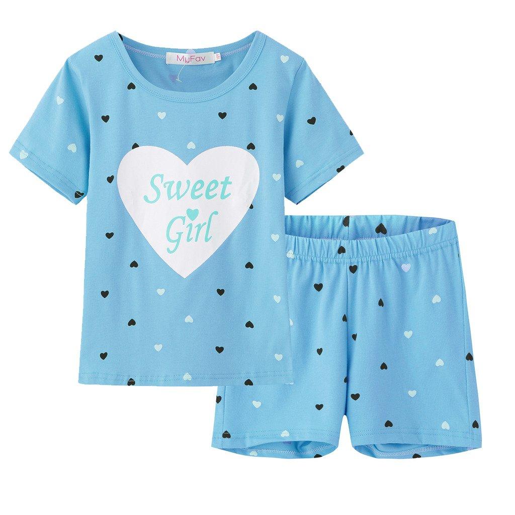 fd3be131d Get Quotations · MyFav Big Girls Summer Pajama Set Heart Shape Printed Cute Sleepwear  Shorts