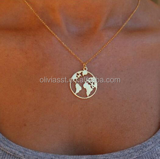 Olivia Travel Jewelry Globe Necklace World Map Necklace Round Disc Layering Jewelry Ladies Necklaces