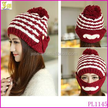 Fashion Stripe Lady Women Knitted Fleece Hat Winter Warmer Beard Beanie  Mustache Mask Facemask Cycling Bicycle 3606d51a7