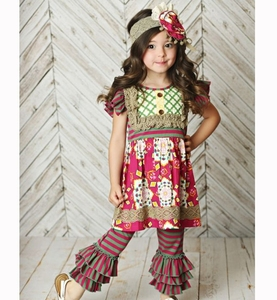yiwu China remake ruffle boutique outfits girls wholesale spring clothing for kids