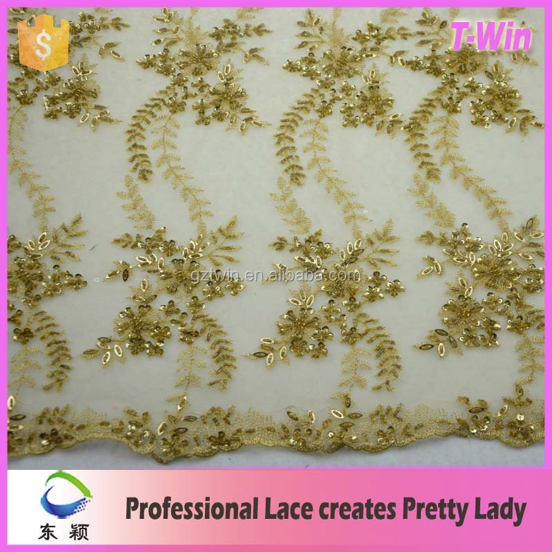 Newest! Wholesale George African guipure lace yellow embroidery fabric for garment