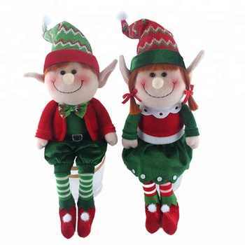 high quality 18 inch fleeced fabric sitting elf toy red and green stuffed elf christmas decoration