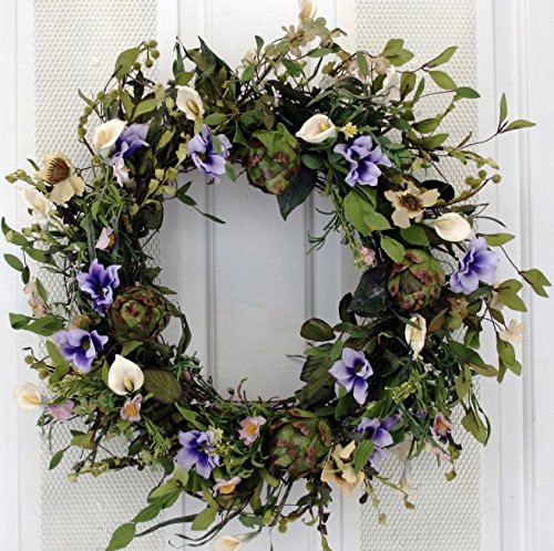 Blue Ridge Silk Spring Door Wreath 22 Inch -Handcrafted on a Grapevine Wreath Base- Display in Spring, Easter, and Summer