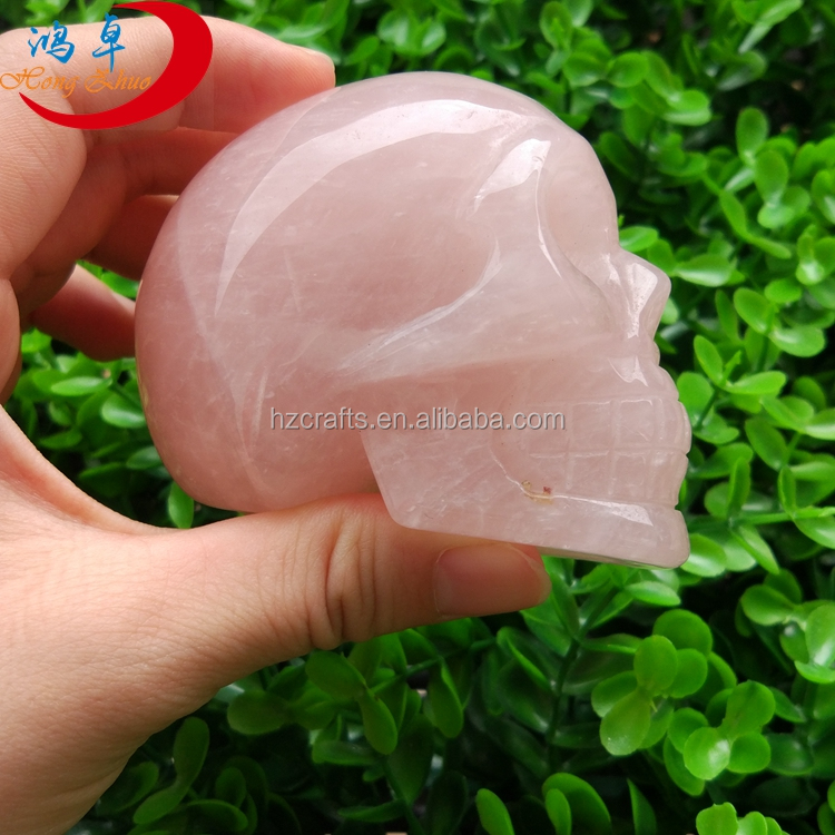 Natural Hand Carved Gemstones rose quartz Stones Skulls