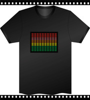 party Sound activated flashing lighting LED EL T shirt