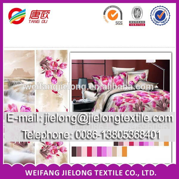 India hot sale polyester fabric 3pcs 4pcs bed sheet fabric bed cover set made in China
