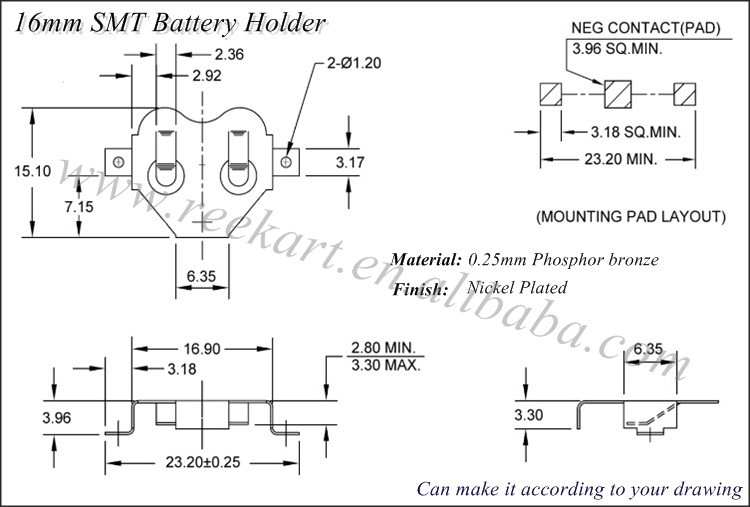 high quality phosphor bronze aaa battery holder for cr2450 battery we can make it according to your drawing or sample below design just for your reference