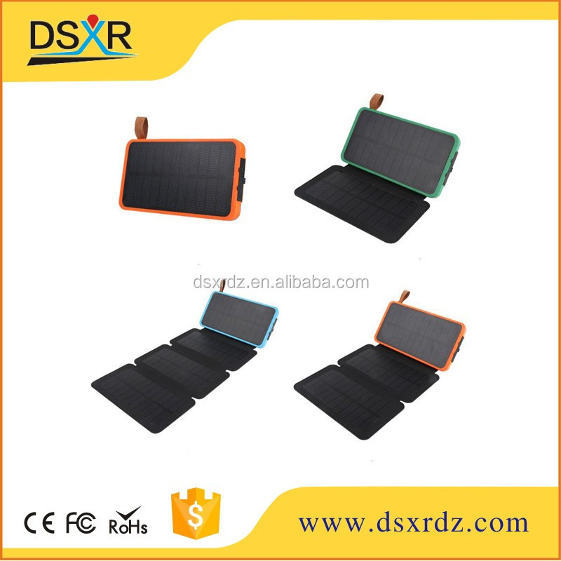 Free Sample,Online Shopping Portable 12000mah LED Light Solar Panle Power Bank,Waterproof Foldable Solar Charger