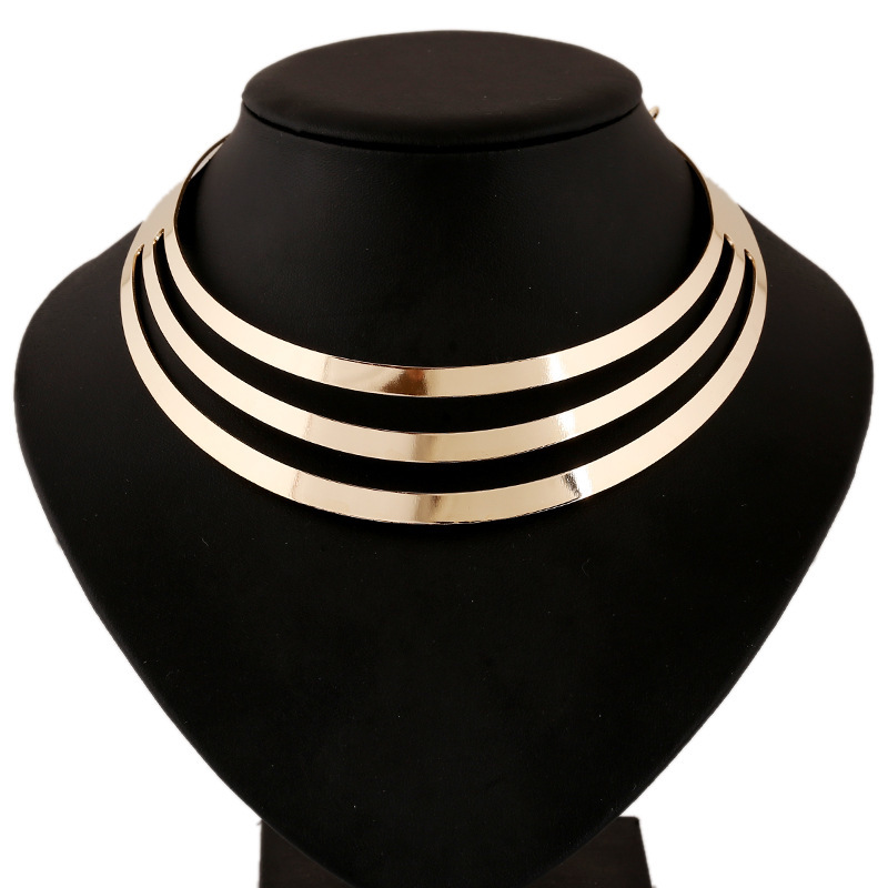 Заявление ожерелье 2016 мода женщины многослойные панк ожерелья шарм ну вечеринку золотое ожерелье цепь роскошные колье воротник ожерелье