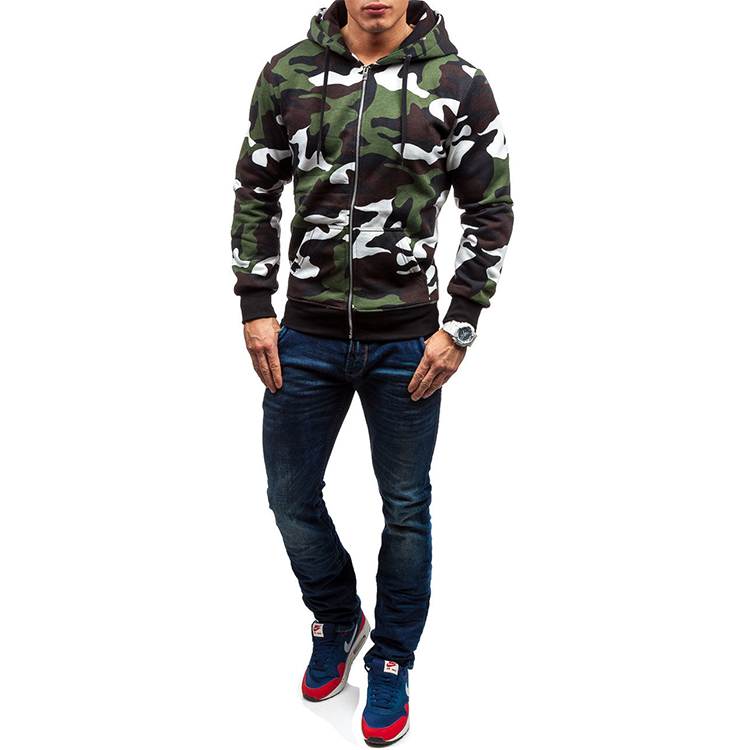 Hot plain Wholesale men sports Polyester Camouflage Print Hoodie