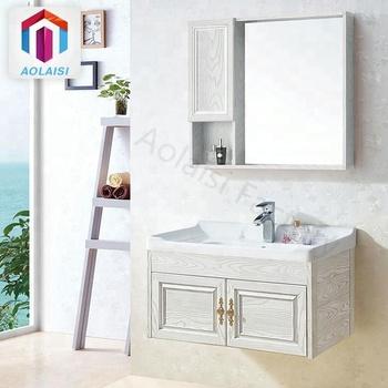 Aluminum Floating Basin Cabinet Bath Sink Vanity White Bathroom Wall