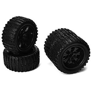 Happiness At Home(TM) Black RC 1:10 Truck Water Wave Tires + Wheel Hub 12mm (Pack of 4)
