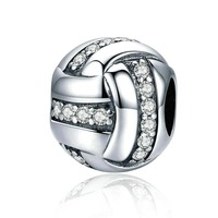High Quality Genuine 925 Sterling Silver Glittering Ribbon Ball Shape Beads Fit Pandora Charm Bracelets Jewelry BAMOER