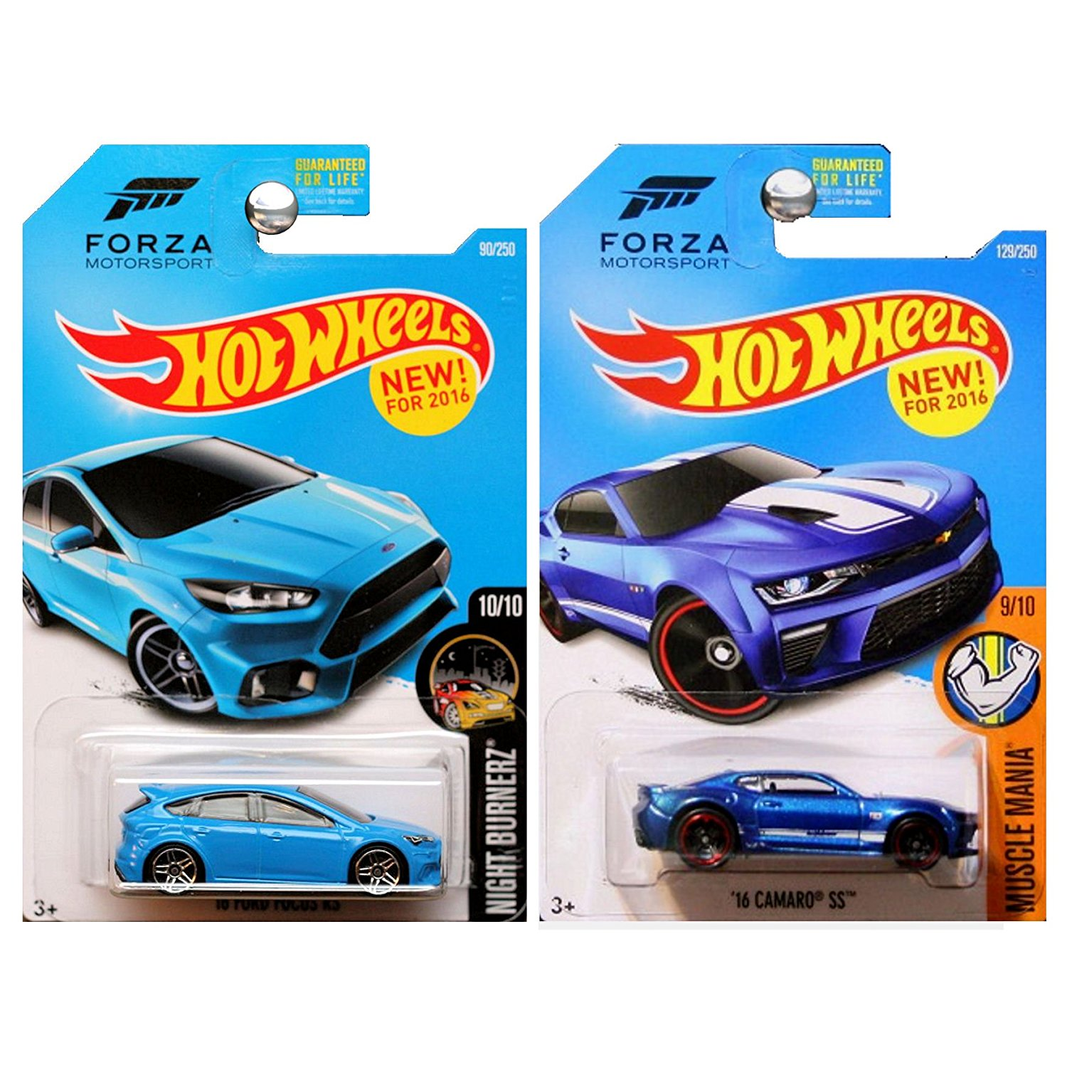 Hot Wheels 2016 Forza Motorsport Set '16 Ford Focus RS and '16 Chevy Chevrolet Camaro SS in Blue SET OF 2