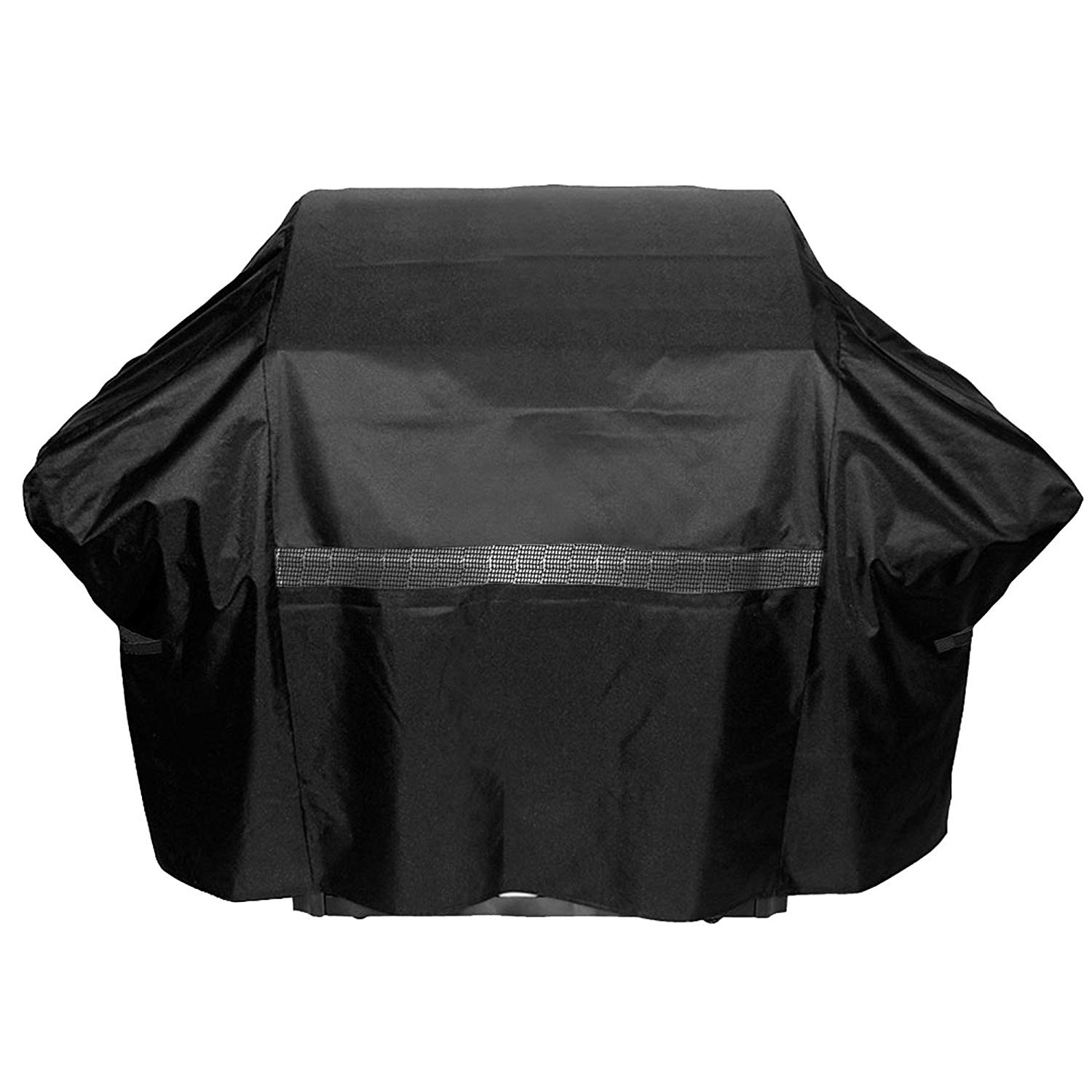 1 Piece Black Outdoor Camping Grill Cover Waterproof 43 Inch, Water Resistant BBQ Cover Small Durable Patio Barbecue Cover Heavy Duty Material Mesh Vent On The Front Closure Strips, Fabric