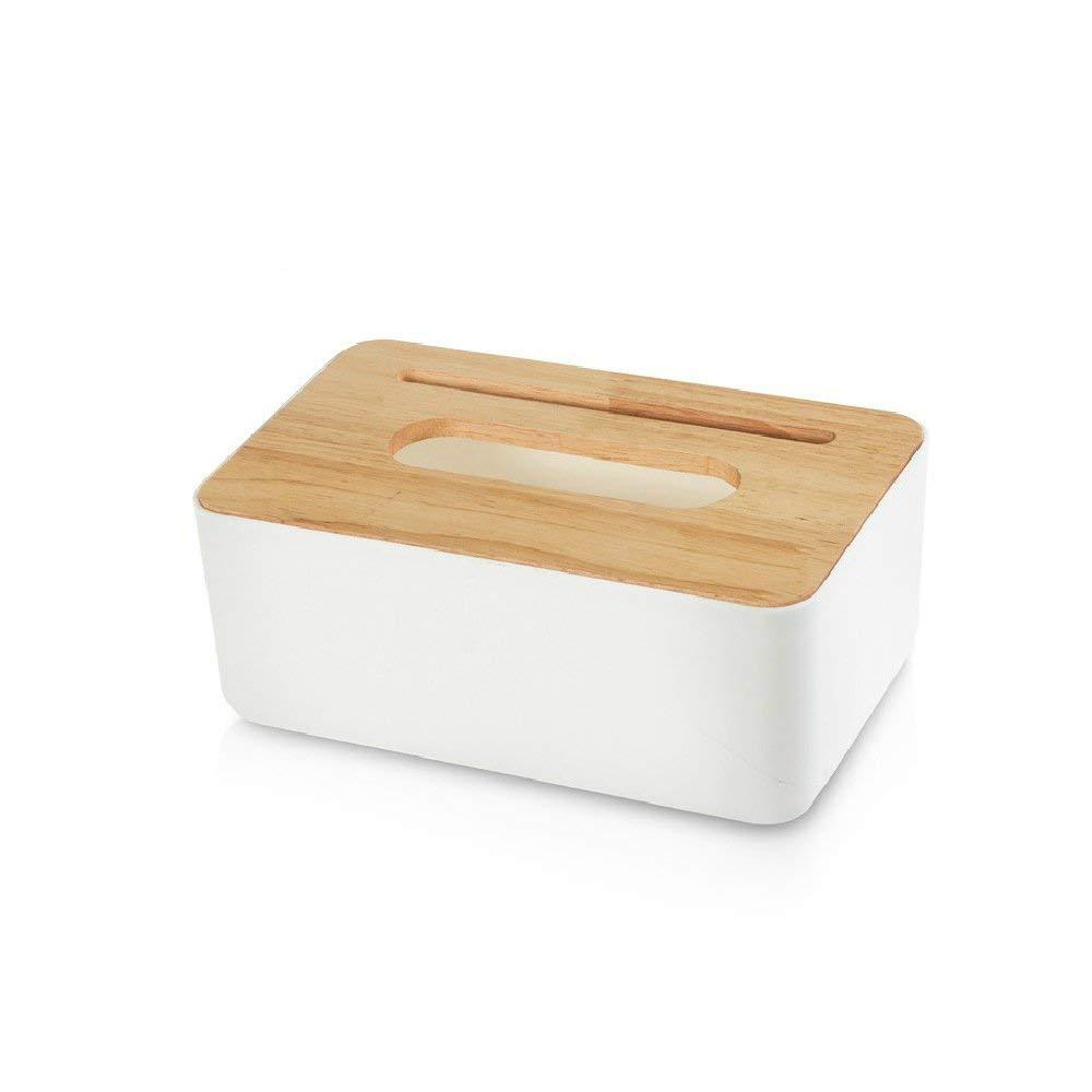 FONGFONG Tissue Box Toilet Paper Storage Holder Rectangular Napkin Dispenser Wooden and Plastic Tissue Box Dispenser Napkin Case Organizer with Mobile Phone Slot for Bathroom Bedroom Office Car White