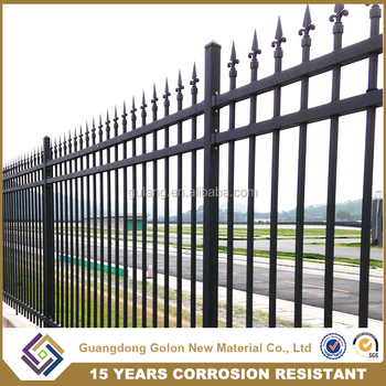 factory black power coated iron fence panels wrought iron fence parts galvanized high security