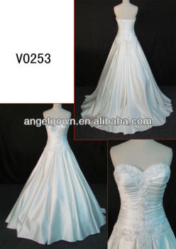 Glamorous heart shaped neckline beaded ruching satin a for Wedding dress heart shaped neckline