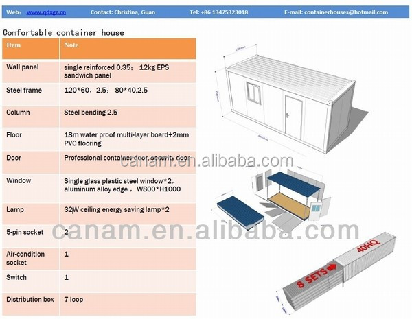 CANAM-low cost 20ft prefabricated warehouse in china contenedores casas